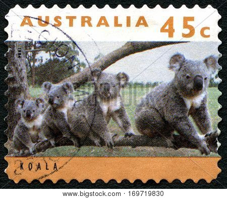 AUSTRALIA - CIRCA 1994: A used postage stamp from Australia depicting an image of Koalas circa 1994.