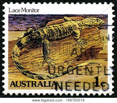 AUSTRALIA - CIRCA 1981: A used postage stamp from Australia depicting an illustration of a Lace Monitor Lizard circa 1981.