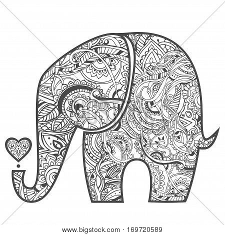 Greeting Beautiful card with Elephant. Pattern of animal made in vector. The pattern in ethnic style, elephant and decorations. Hand drawn map with Elephant.
