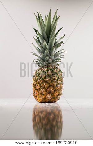 Vertical shot of whote pineapple. Tropical fresh fruit on a white background