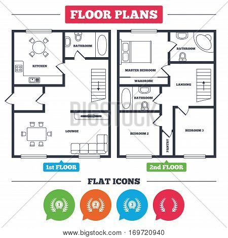 Architecture plan with furniture. House floor plan. Laurel wreath award icons. Prize for winner signs. First, second and third place medals symbols. Kitchen, lounge and bathroom. Vector