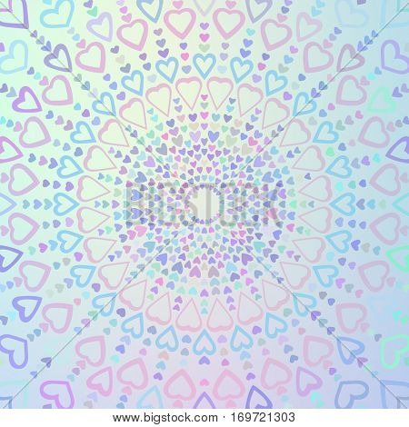 Indie style background made of hearts in different colors, Circular texture