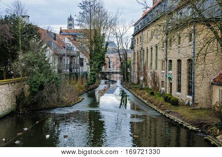Winter Scenery In Bruges, Belgium