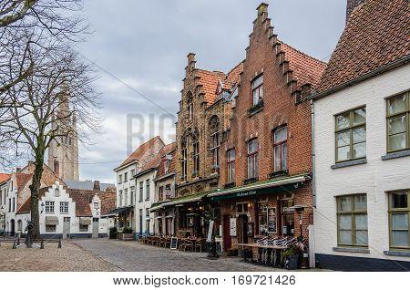 Small Square In Bruges, Belgium