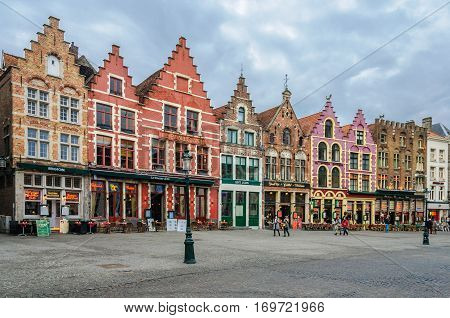 BRUGES, BELGIUM - JANUARY 27, 2017: Old brick buildings in the UNESCO World Heritage Old Town of Bruges Belgium