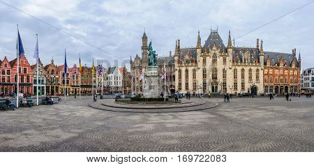 Market Square Panorama In Bruges, Belgium