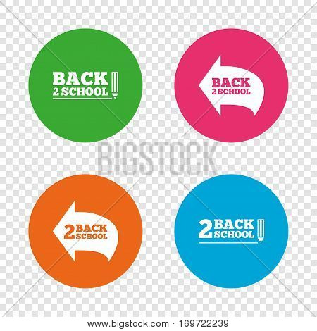 Back to school icons. Studies after the holidays signs. Pencil symbol. Round buttons on transparent background. Vector
