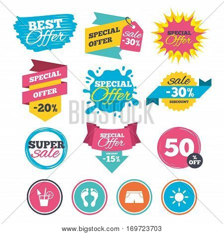 Sale banners, online web shopping. Beach holidays icons. Cocktail, human footprints and swimming trunks signs. Summer sun symbol. Website badges. Best offer. Vector