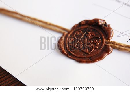 Old notarial wax stamp on document, closeup