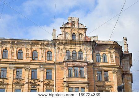 Old building in center of Petersburg, Russia.