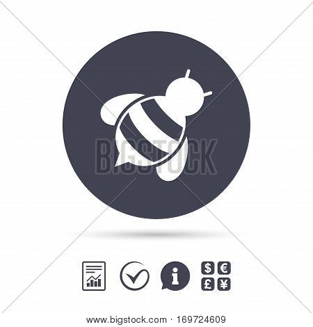 Bee sign icon. Honeybee or apis with wings symbol. Flying insect diagonal. Report document, information and check tick icons. Currency exchange. Vector