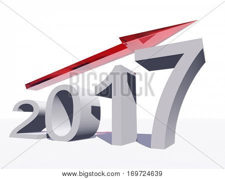 Conceptual 3D illustration red 2017 year symbol with an arrow on background for success, growth, graph, future, finance, financial new year holiday increase rise date career forecast December progress