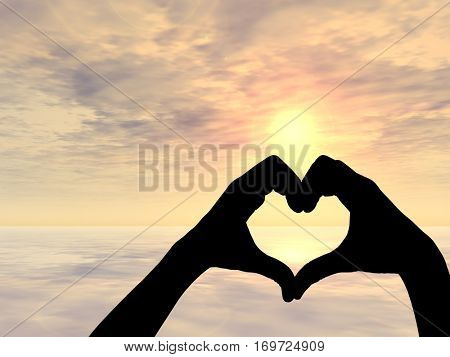 Concept or conceptual heart shape 3D illustration or symbol of human or woman and man hand silhouette over sky, sea at sunset background, for love, valentine, romantic, couple, wedding summer romance