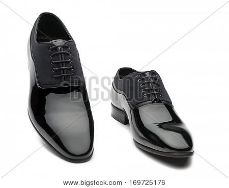 Black Patent Leather Men Shoes Isolated