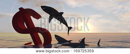 Conceptual 3D illustration bloody dollar symbol or sign sinking in water or sea, with black sharks eating metaph concept for crisis in US banner, financial, crash, danger, business or currency designs