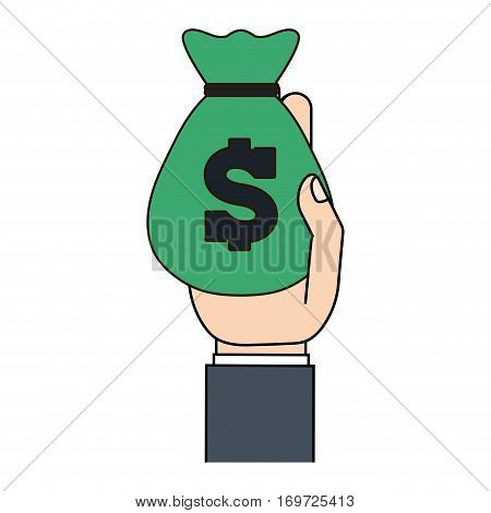 green moneybag in the hand icon image, vector illustration design