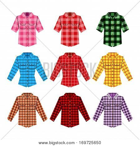 Cheskered shirt isolated vector illustration. Fashion clothing casual cotton textile design. Apparel golfing jacket. Elegant shopping pattern texture.