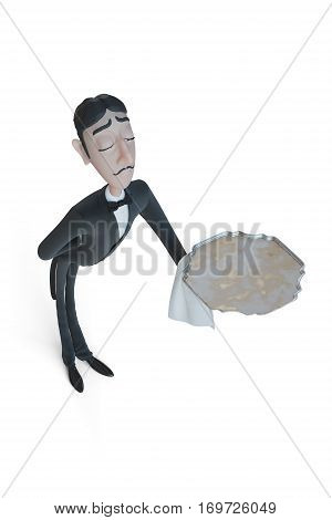 Waiter in tail-coat holding empty tray and napkin. 3d illustration
