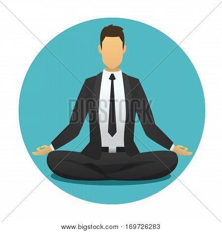 Yoga man icon. meditation logo flat design. sitting, meditator business man with blue  round background. vector illustration.