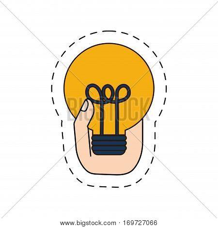 light brainstorm in the hand image design, vector illustration icon