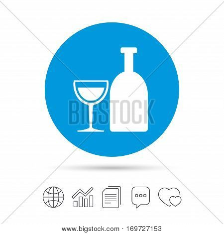 Alcohol sign icon. Drink symbol. Bottle with glass. Copy files, chat speech bubble and chart web icons. Vector