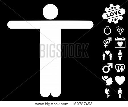 Scarecrow Pose icon with bonus love symbols. Vector illustration style is flat iconic white symbols on black background.
