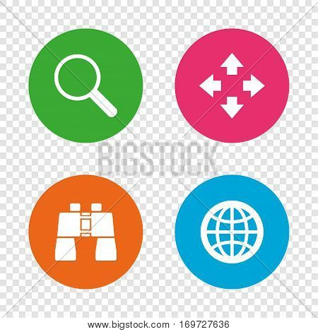 Magnifier glass and globe search icons. Fullscreen arrows and binocular search sign symbols. Round buttons on transparent background. Vector