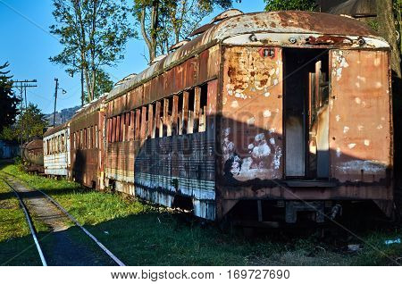Abandoned Train In The Savannah Station