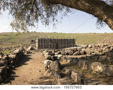 KORAZIM, ISRAEL. JANUARY, 2017. Archeological site of the biblical city of Korazim in Israel showing remains of several Christian civilizations