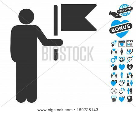 Commander With Flag pictograph with bonus dating design elements. Vector illustration style is flat iconic blue and gray symbols on white background.