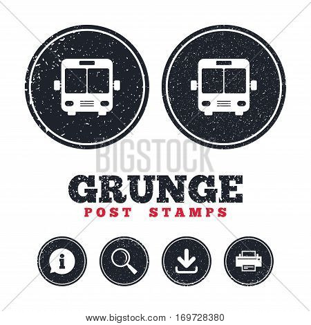 Grunge post stamps. Bus sign icon. Public transport symbol. Information, download and printer signs. Aged texture web buttons. Vector