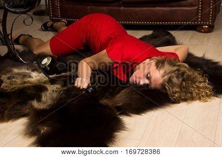 Crime Scene Simulation: Lifeless Blonde Lying On The Floor