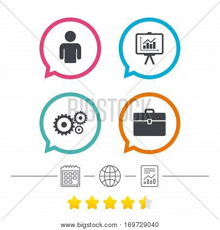 Business icons. Human silhouette and presentation board with charts signs. Case and gear symbols. Calendar, internet globe and report linear icons. Star vote ranking. Vector