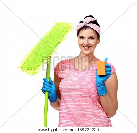 Happy young cleaner with dust mop and sponge on white background