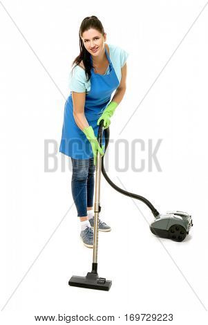 Cleaner hoovering on white background