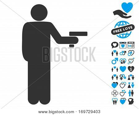 Robber With Gun pictograph with bonus valentine clip art. Vector illustration style is flat iconic blue and gray symbols on white background.