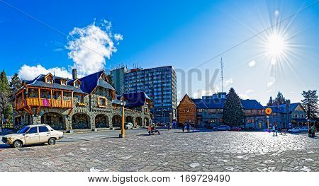 SAN CARLOS DE BARILOCHE ARGENTINA - SEPTEMBER 7 2015: Panoramic view of the Civic Center in San Carlos de Bariloche Río Negro Argentina.