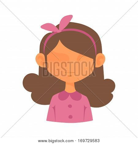 Girl portrait face icon web avatar flat style. Vector woman blocked or unknown anonymous silhouette. Business person profile flat social character illustration.
