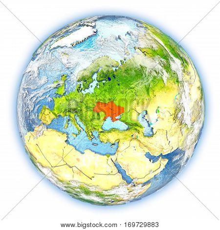 Ukraine On Earth Isolated