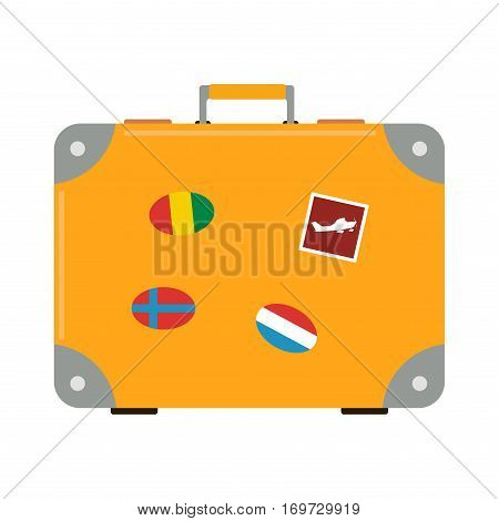 Travel tourism fashion baggage and vacation handle leather big packing briefcase. Voyage destination bag. Journey suitcase departure vector.