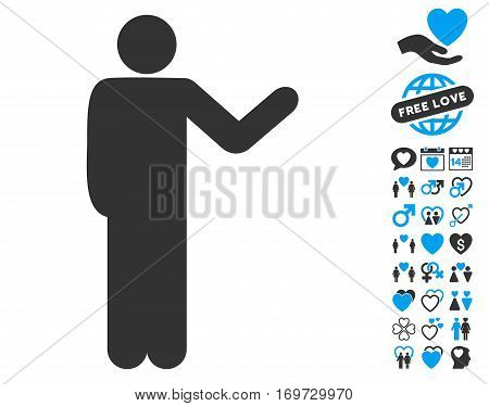 Talking Man pictograph with bonus lovely design elements. Vector illustration style is flat iconic blue and gray symbols on white background.