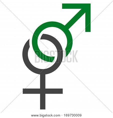Sex Symbol flat icon. Vector bicolor green and gray symbol. Pictogram is isolated on a white background. Trendy flat style illustration for web site design logo ads apps user interface.