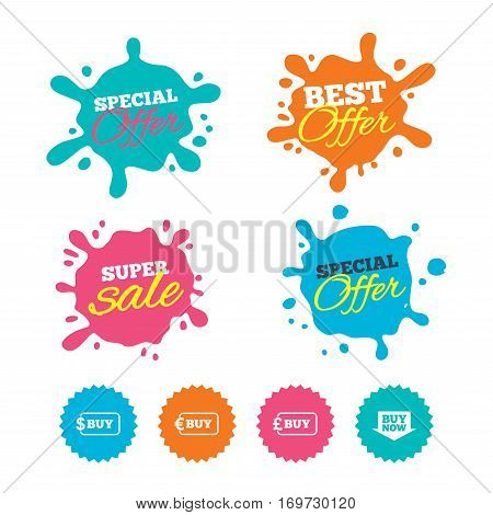Best offer and sale splash banners. Buy now arrow icon. Online shopping signs. Dollar, euro and pound money currency symbols. Web shopping labels. Vector