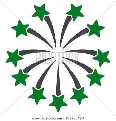 Spherical Fireworks flat icon. Vector bicolor green and gray symbol. Pictogram is isolated on a white background. Trendy flat style illustration for web site design logo ads apps user interface.
