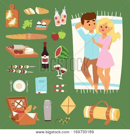Picnic setting with red wine glasses, picnic hamper basket. Barbecue resting couple and icons. Summer meal party family people. Lunch garden character vector illustration.