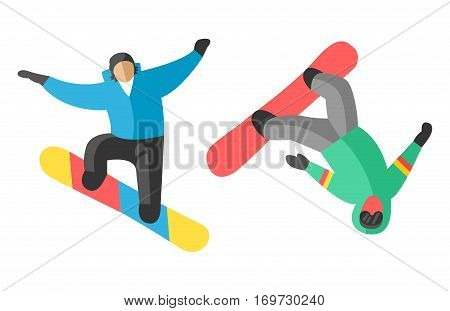 Snowboarder people tricks vector illustration. Downhill dangerous guy season extreme sport. Young fast characters fun speed action. Jumper athlete activity.