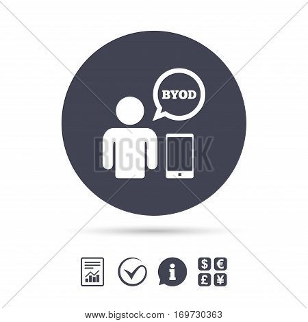BYOD sign icon. Bring your own device symbol. User with smartphone and speech bubble. Report document, information and check tick icons. Currency exchange. Vector