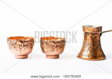 Copper Coffee Pot And Cups Isolated