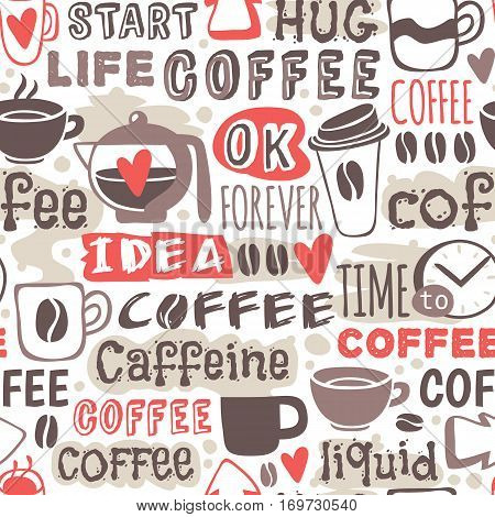Seamless doodle coffee pattern hand drawn vector illustration. Espresso breakfast hot drink background. Sketch beverage cappuccino wallpaper.