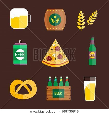 Oktoberfest set icons in cartoon style. Big collection of germany bavarian vector symbol stock illustration. Celebration alcohol pub munich drink element.